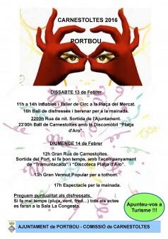 Programació del Carnaval de Portbou 2016.
