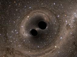 Simulació de la fusió dels dos forats negres dels quals procedeixen les ones detectades. / LLIGO/*SXS