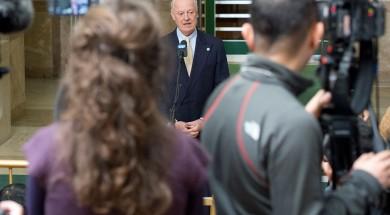 Staffan de Mistura, enviat especial de l'ONU para Síria, parla a la premsa en Ginebra. Foto: ONU/Jean-Marc Ferré
