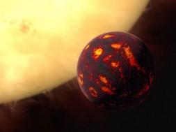 Il·lustració de l'exoplaneta 55 Cancri i enfront del seu estel. / AQUESTA/Hubble, M. Kornmesser