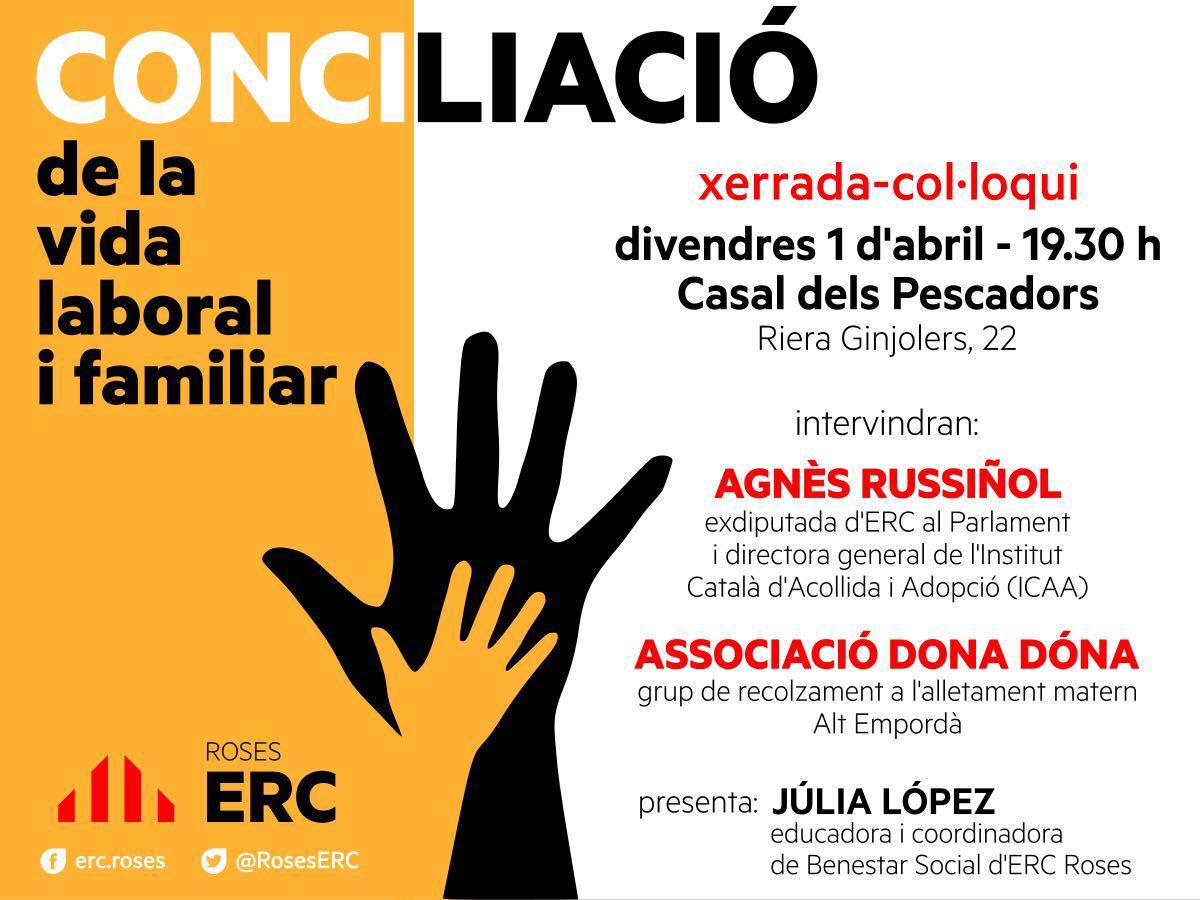 """ERC Roses organitzarà una xerrada-col·loqui sobre """"la Conciliació de la vida laboral i familiar"""""""