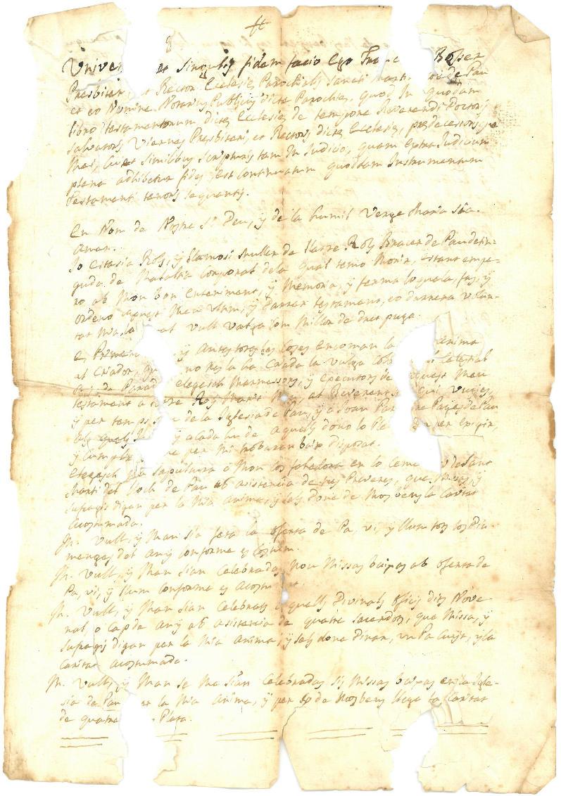 El testament d'una veïna de Pau datat de l'any 1728, document del mes de l'AMR