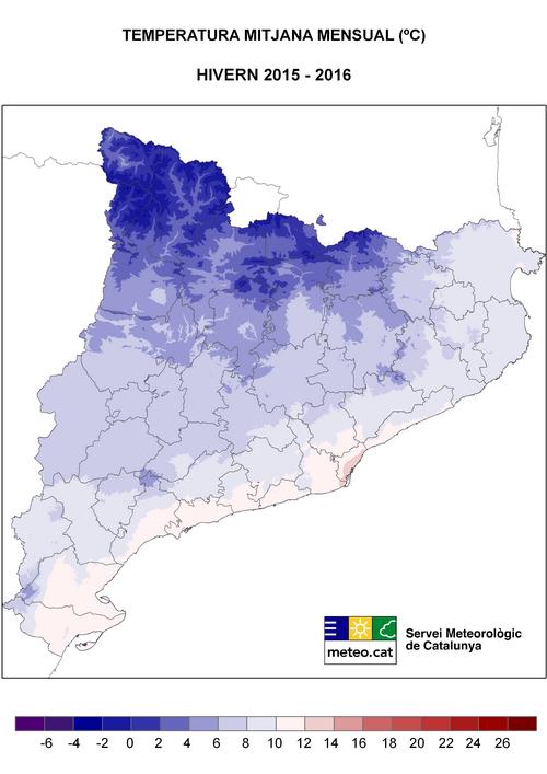 L'hivern 2015-2016 ha estat càlid o molt càlid arreu de Catalunya
