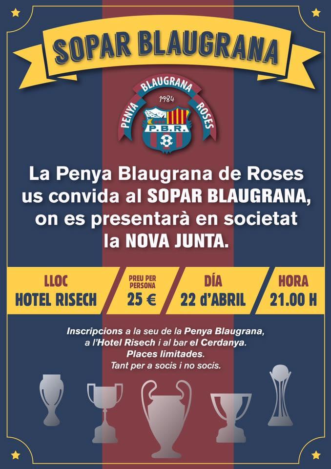 La Penya Blaugrana de Roses organitza un sopar en societat per tal de oficialitzar el canvi de junta