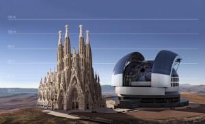 El pes total de la cúpula del telescopi serà major a 3.000 tones i la construcció aconseguirà altures similars a la Sagrada Família de Barcelona. / AIXÒ