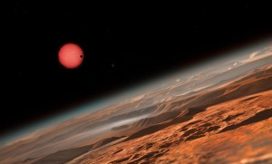 Il·lustració d'un dels tres planetes de l'estel TRAPPIST-1 (al fons). / AIXÒ/M. Kornmessers planetes
