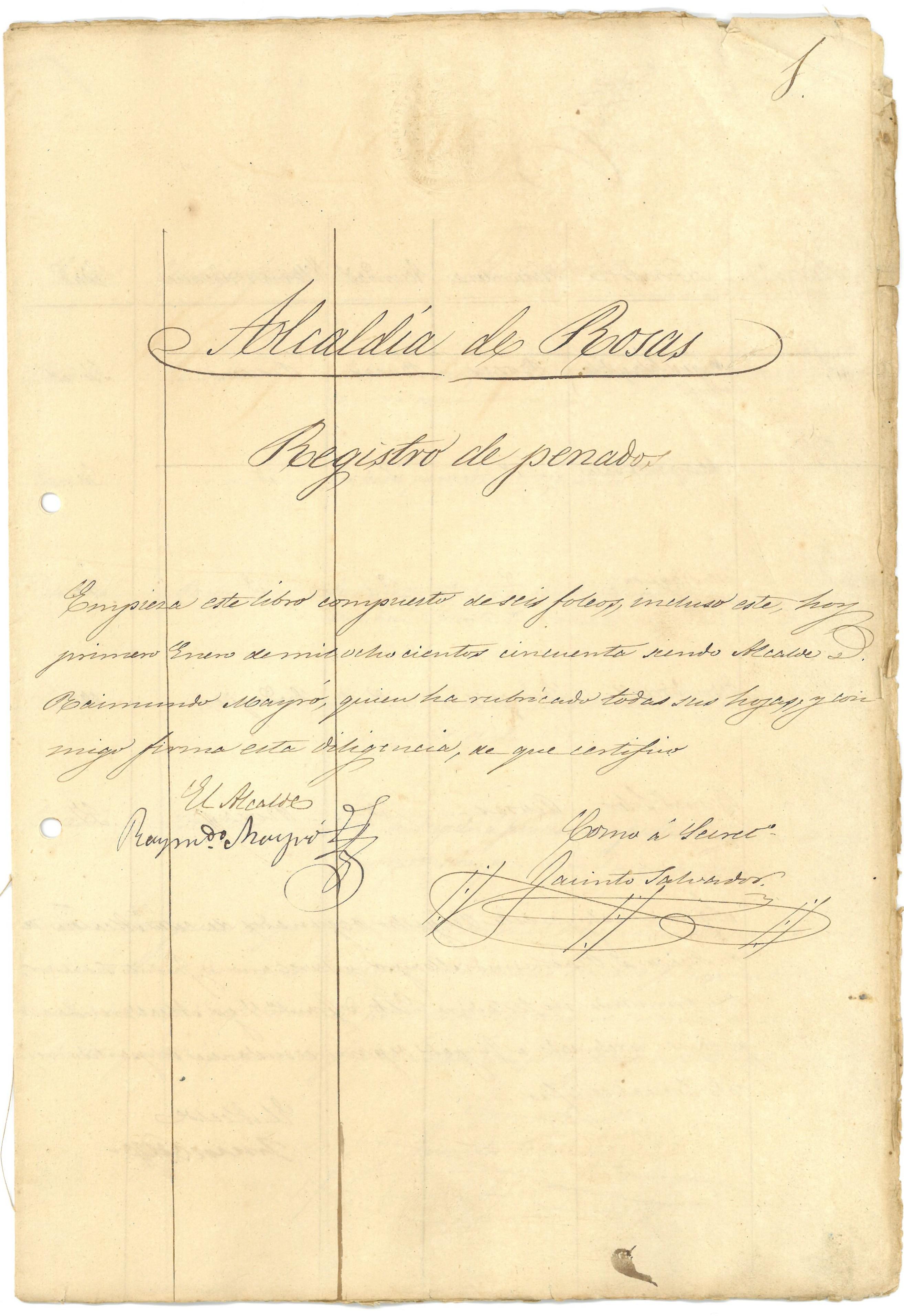 El Registre de Penats de 1850, document del mes de l'Arxiu Municipal de Roses