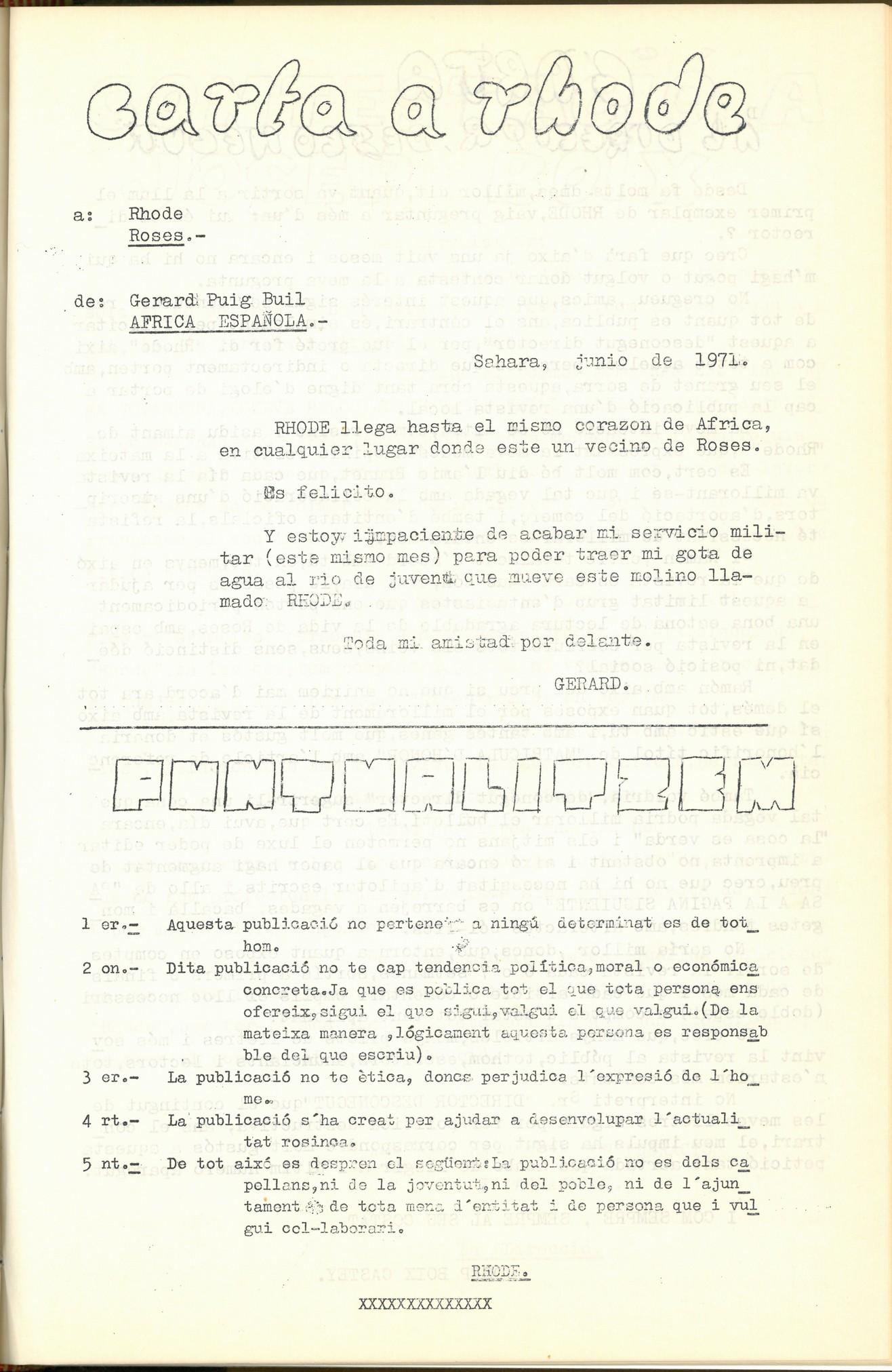La revista Rhode, expressió dels nous moviments culturals a Roses (1971-1972), document de l'AMR