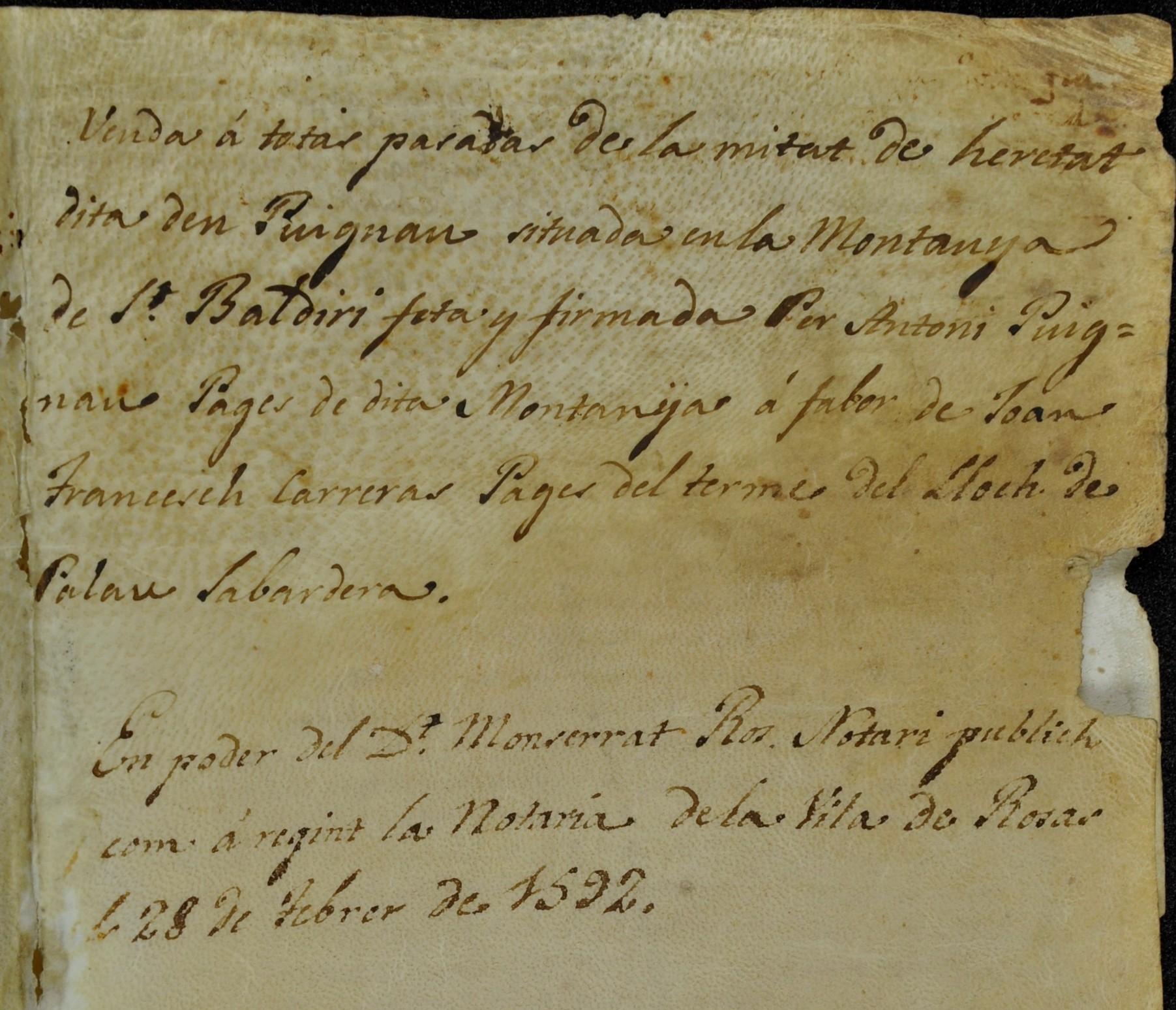 Escriptures, heretats i notaris, al document del mes de l'Arxiu Municipal de Roses