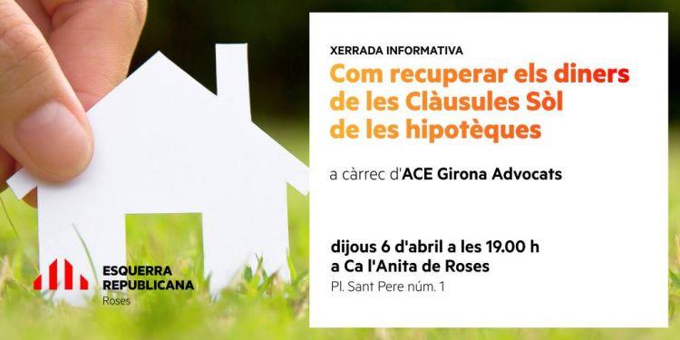 ERC organitza una xerrada sobre com recuperar els diners de les Clàusules Sòl de les hipotèques