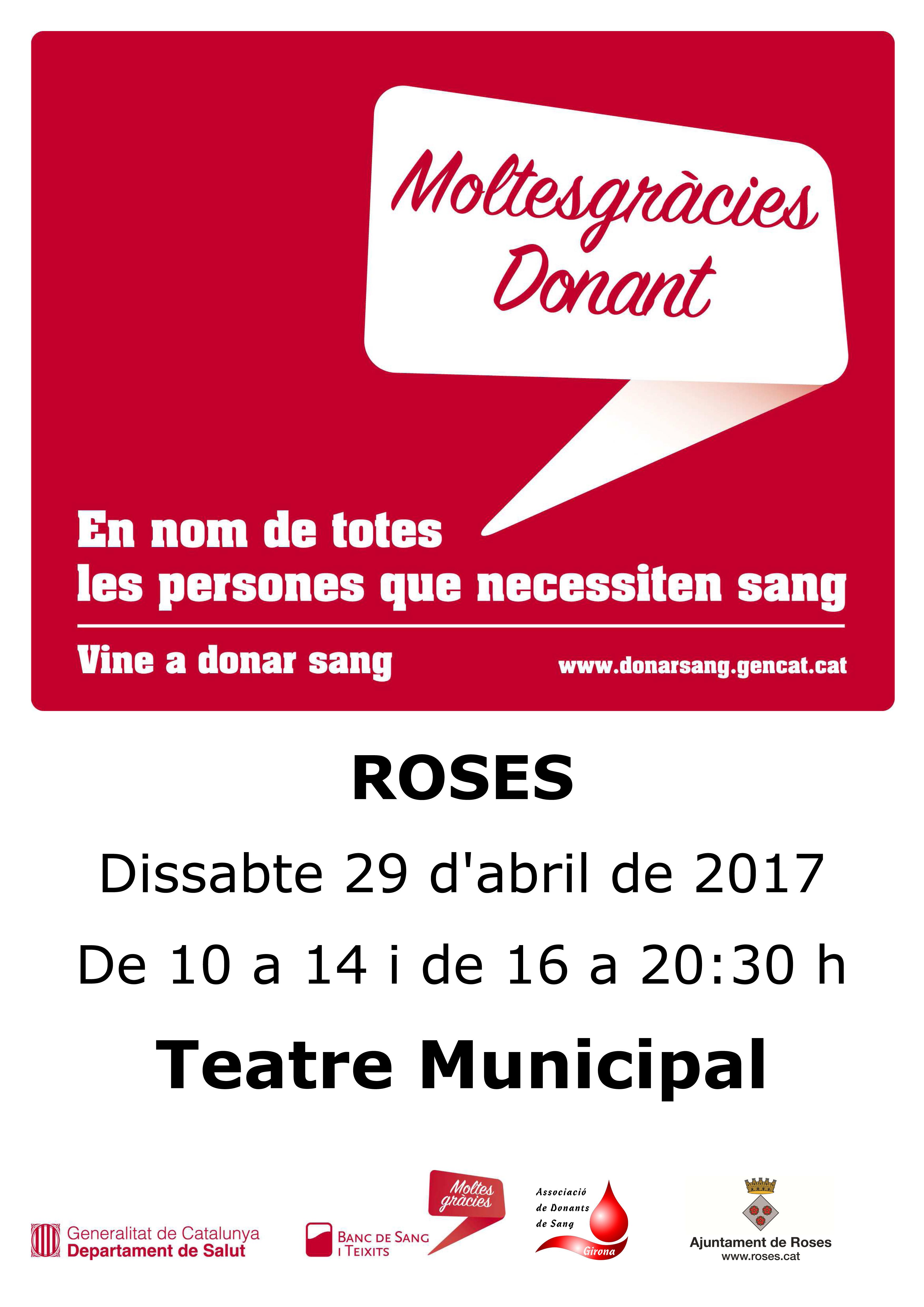 Dissabte 29 d'abril, jornada de donació de sang a Roses