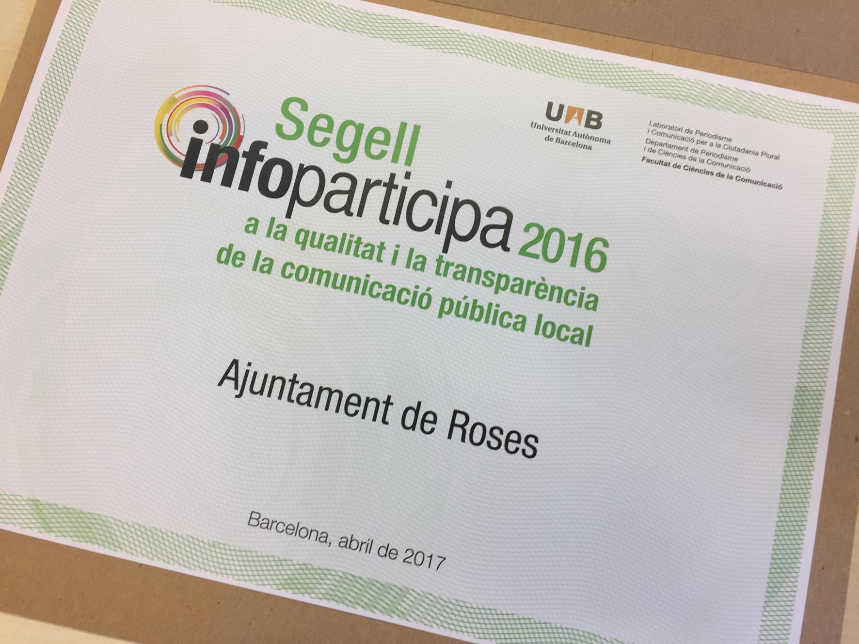 Roses revalida el Segell Infoparticipa a la qualitat i la transparència del web roses.cat