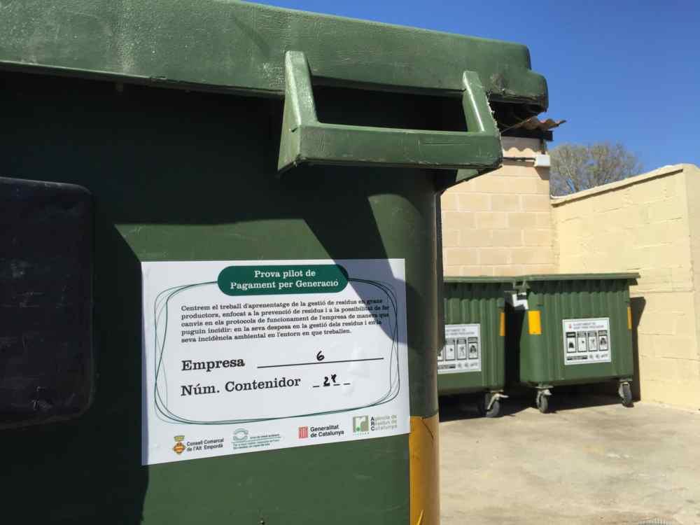 Onze empreses de l'Alt Empordà participen en una prova pilot de pagament per generació de residus