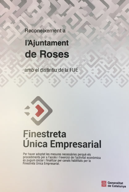 L'Ajuntament de Roses reconegut amb el distintiu de la Finestreta Única Empresarial FUE