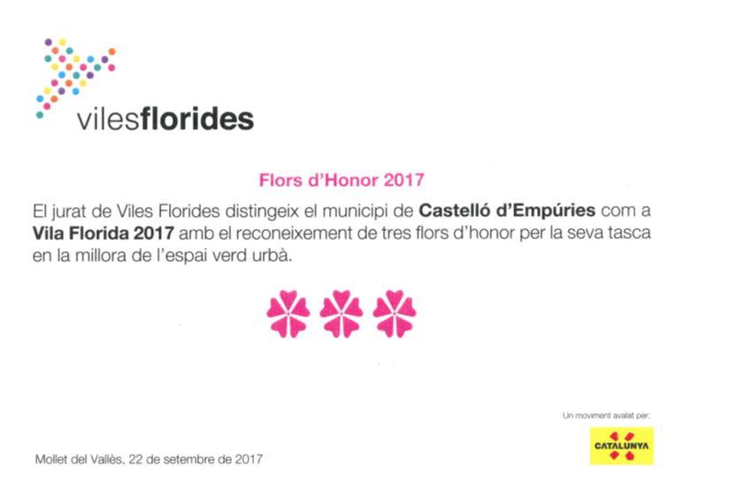 Viles Florides lliura els reconeixements de Flors d'Honor 2017