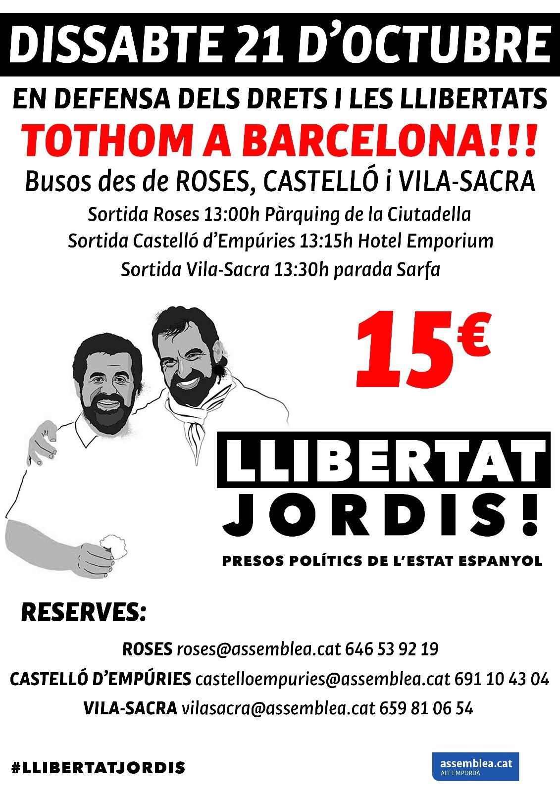 L'ANC de Roses organitza autocars per anar dissabte a Barcelona