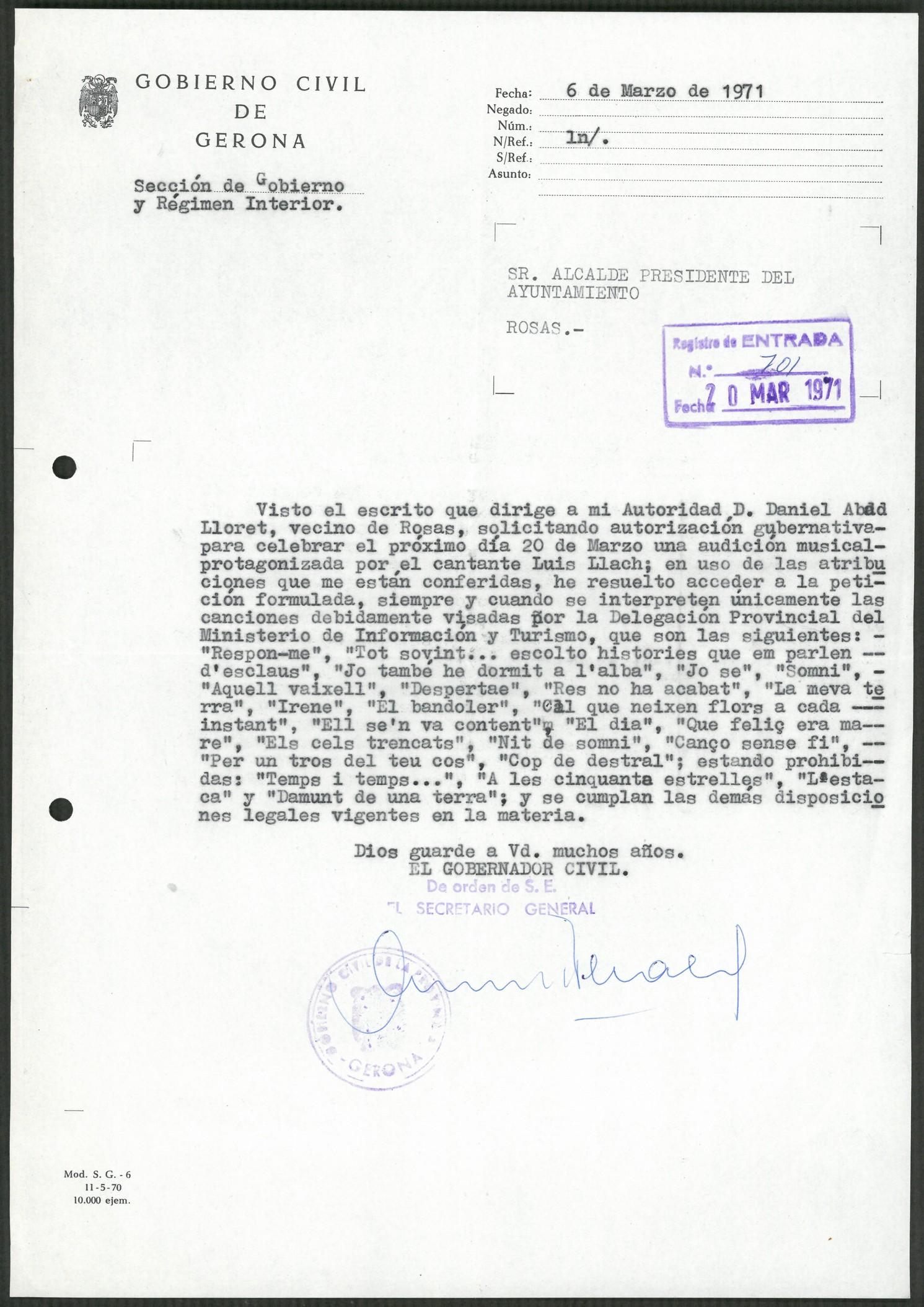Les cançons autoritzades de Lluís Llach, document del mes de l'AMR
