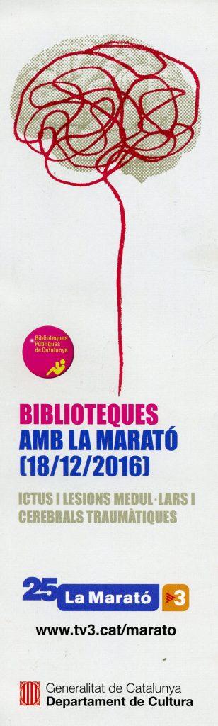 """La Biblioteca de Castelló d'Empúries, per segon any consecutiu, se suma a la campanya """"Les biblioteques col·laboren amb la Marató de TV3 (2017)"""""""
