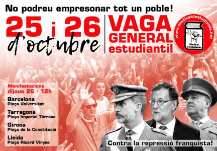 El moviment estudiantil convoca una vaga unitària el dijous 26 d'octubre