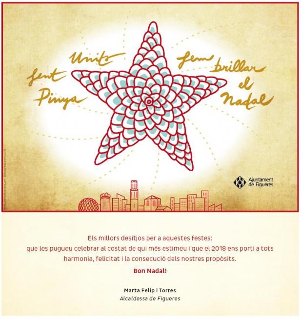 L'Ajuntament de Figueres felicita les festes de Nadal amb una postal dissenyada per Mònica Campdepadrós