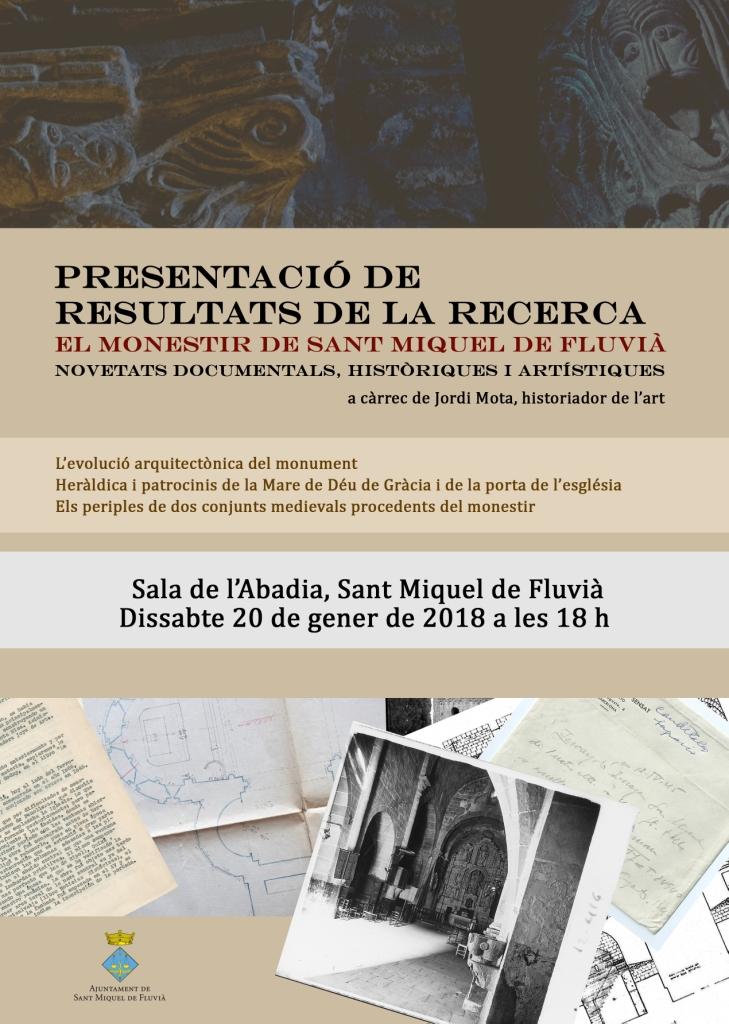 """Conferencia, """"Monestir de Sant Miquel Fluvià, novetats documentals, históriques i artístiques"""""""