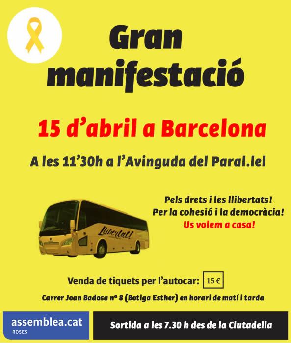 L'ANC de Roses organitza autocars per la Manifestació del 15 d'abril a Barcelona