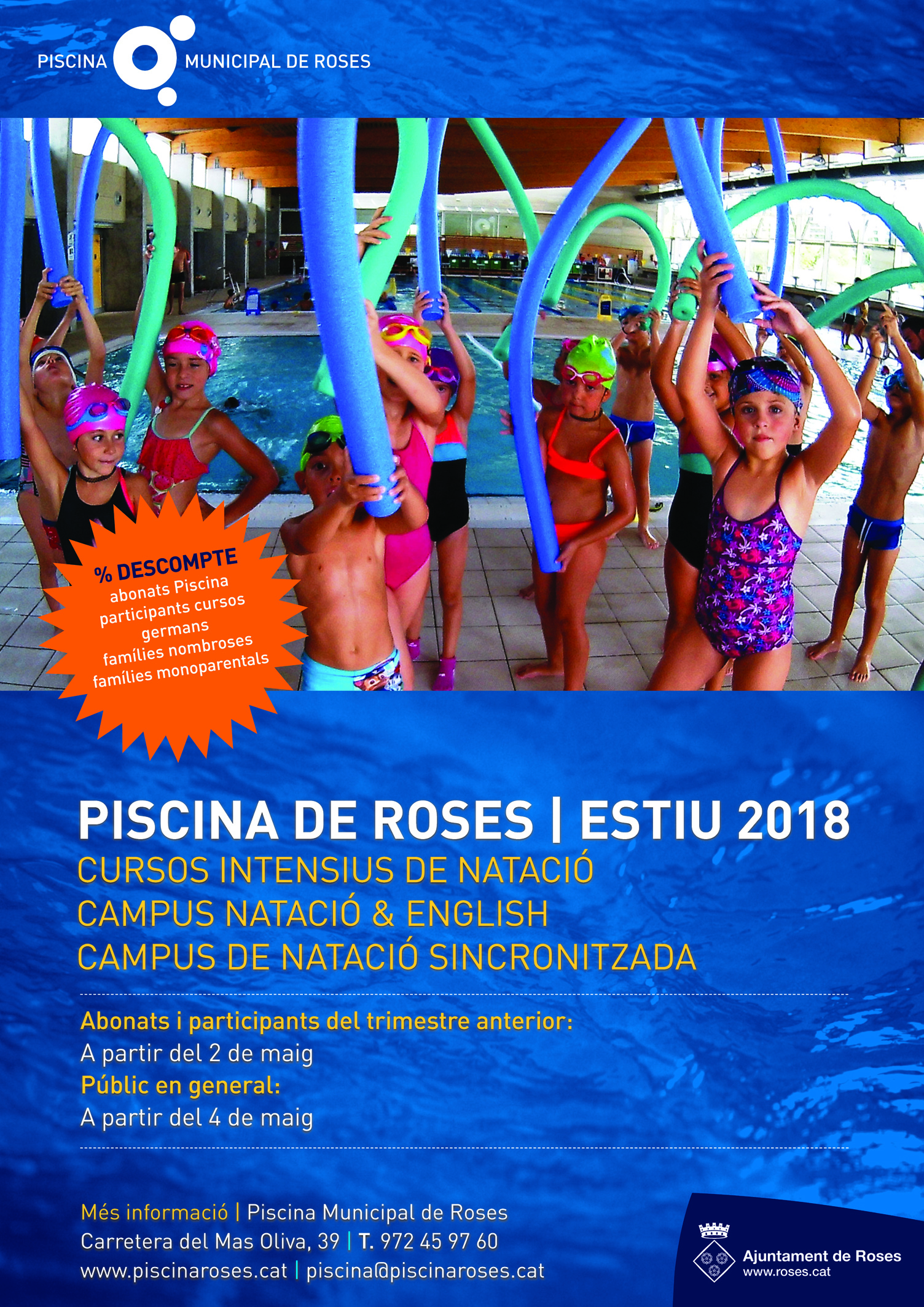 Campus i cursos de natació d'estiu a la Piscina de Roses