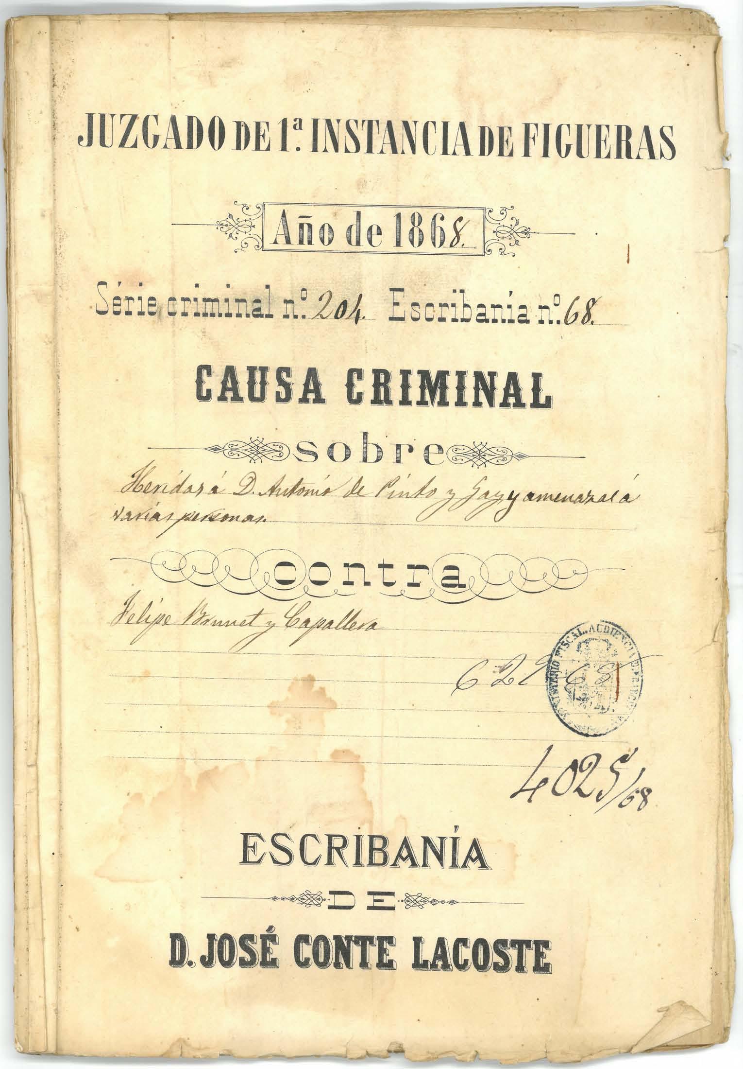 Una causa judicial per un cop de puny i amenaces de mort, en el Document del Mes de l'Arxiu de Roses