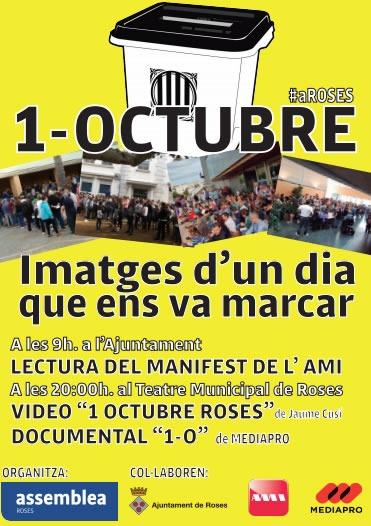Roses commemorarà demà dilluns la jornada de l'1 d'Octubre