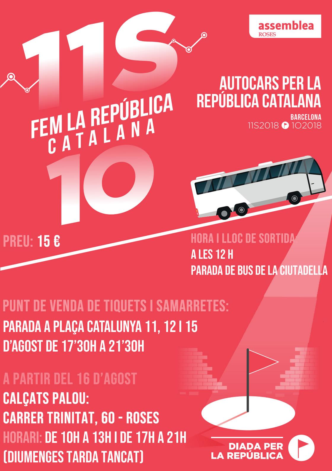 4 busos sortiran des de Roses demà per fer República a Barcelona