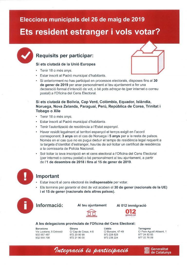 Residents estrangers- Eleccions Municipals 26 de maig de 2019