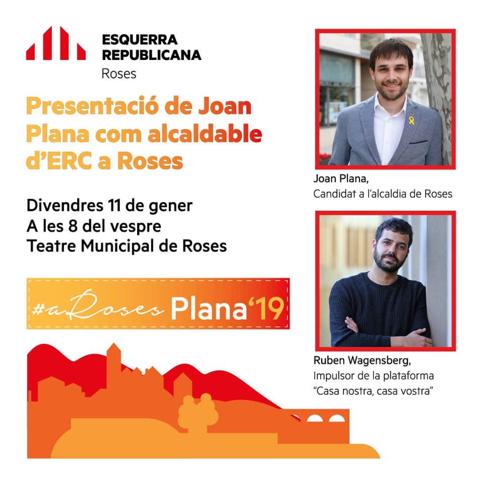ERC presenta Joan Plana com a candidat a l'alcaldia de Roses acompanyat de Ruben Wagensberg