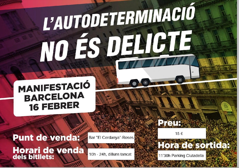 L'ANC Roses organitza autocars per anar a Barcelona el proper dissabte