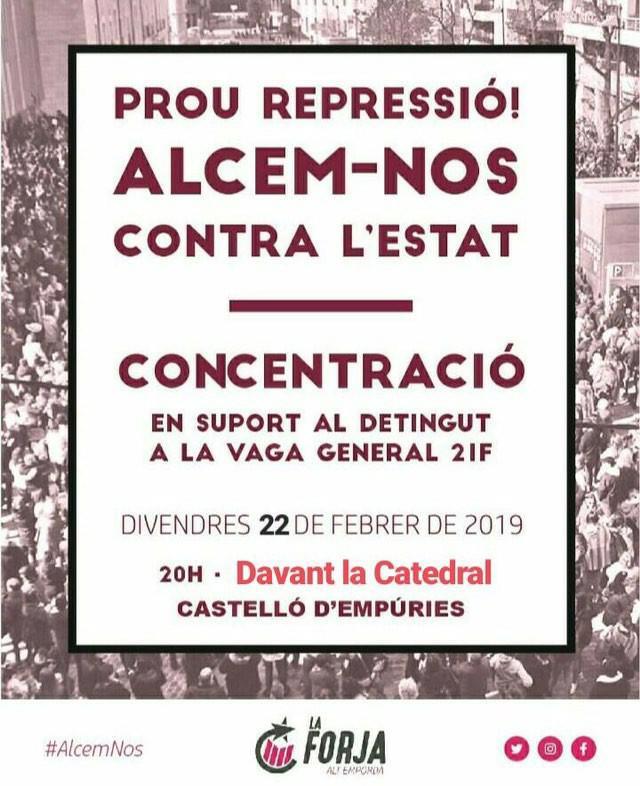 Convocada una concentració de suport aquest vespre a Castelló d'Empúries