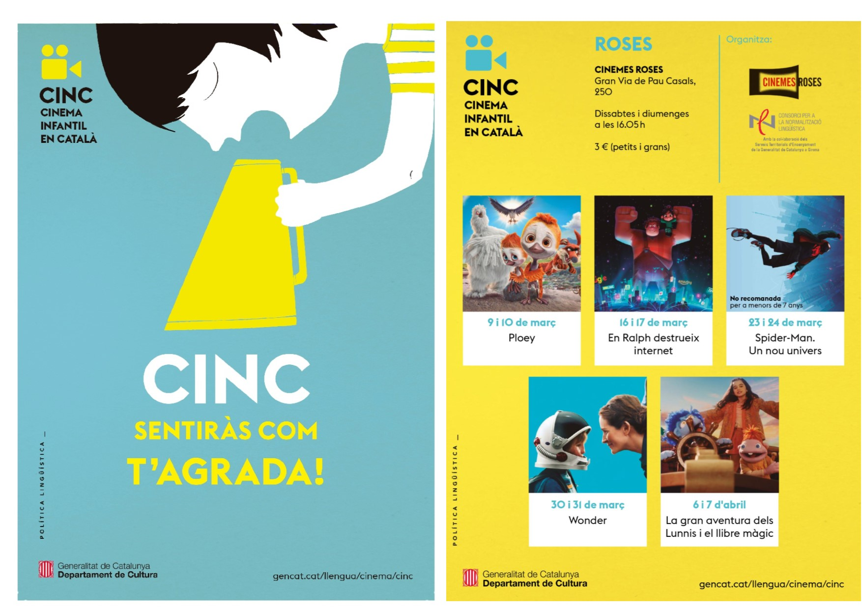 El Cinema Infantil en Català (CINC) torna aquest mes de març als Cinemes Roses