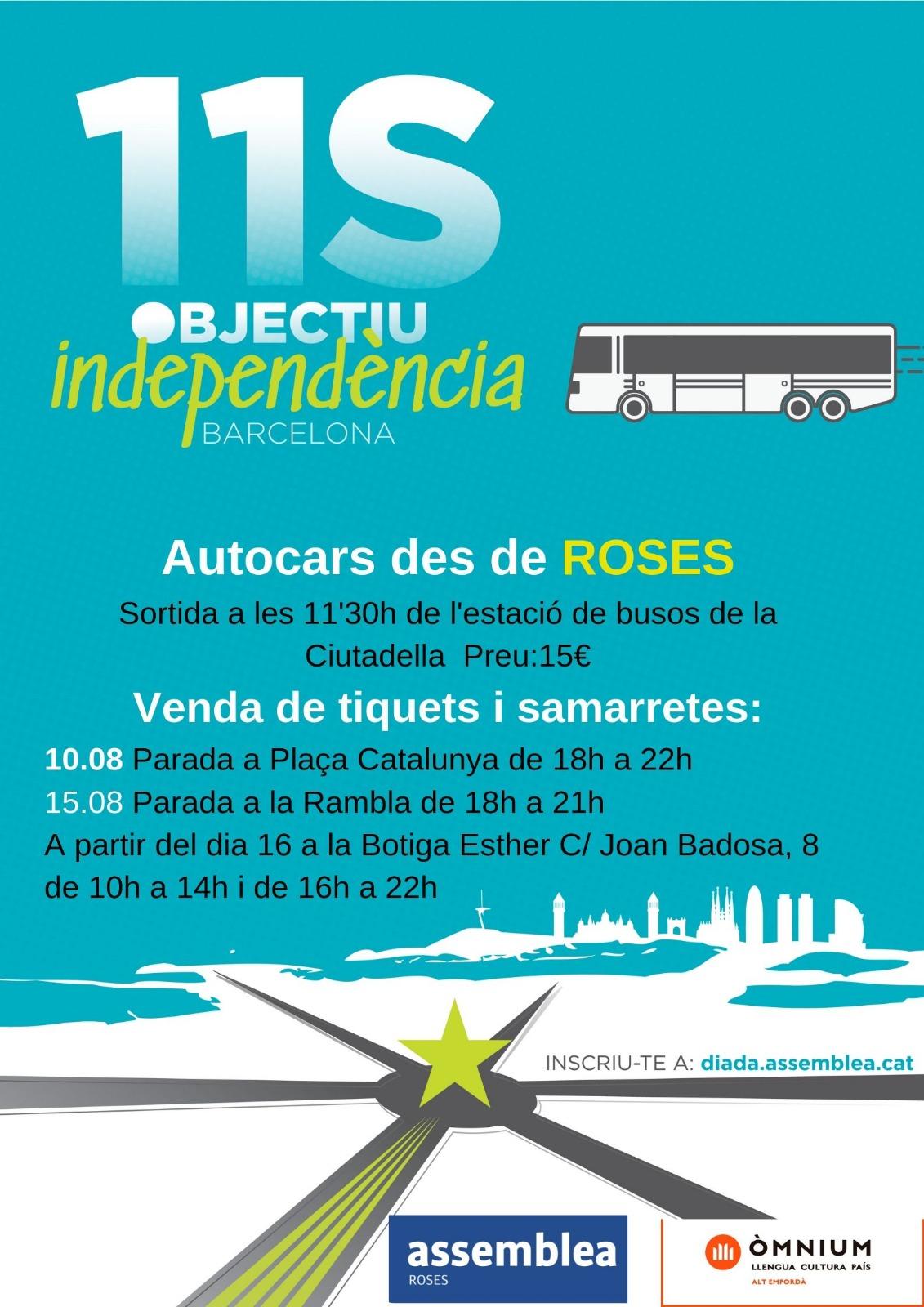 L'ANC Roses ja hi ha posat a la venda els tiquets per anar a Barcelona
