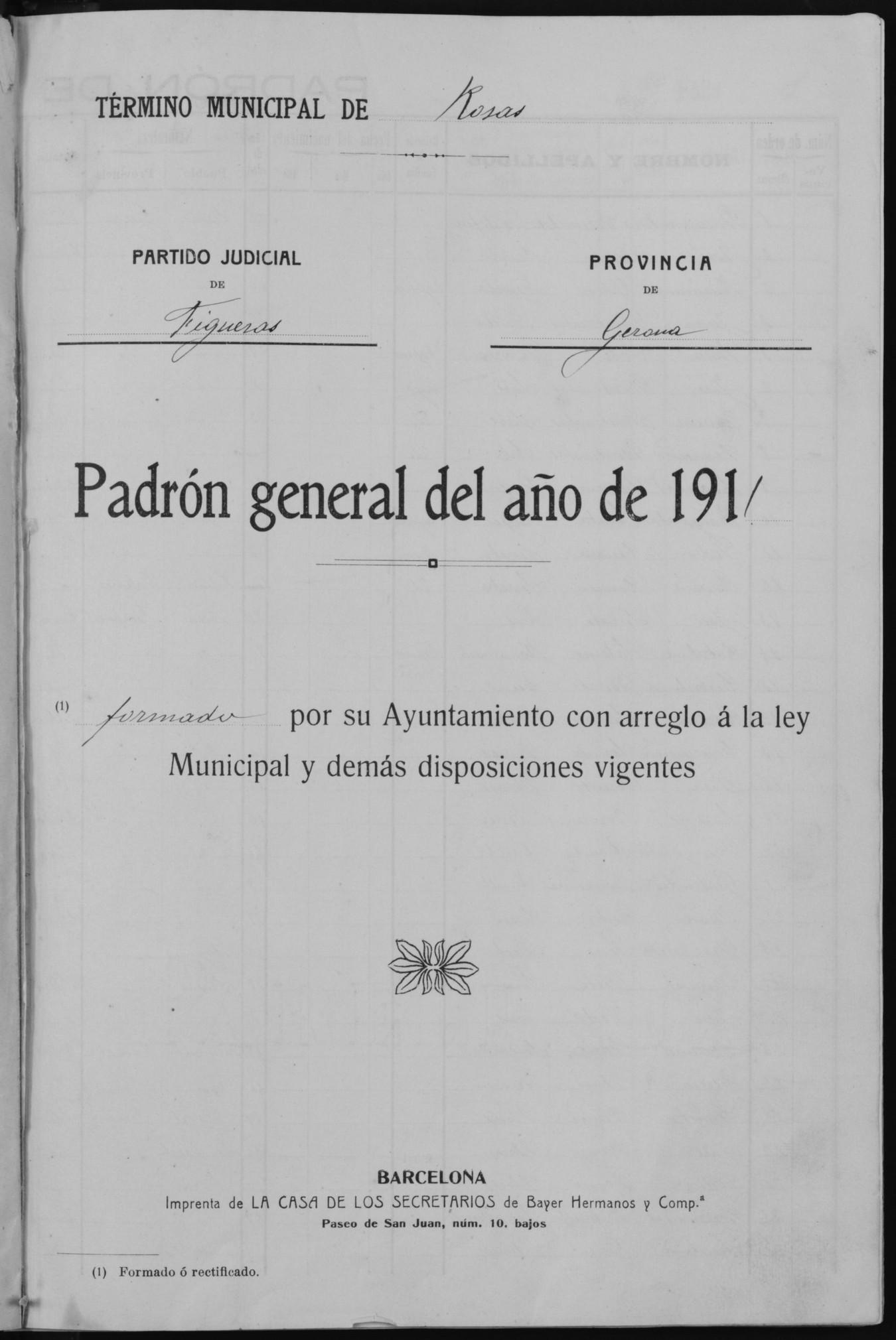El padró municipal d'habitants de 1910, document del mes de l'Arxiu Municipal de Roses