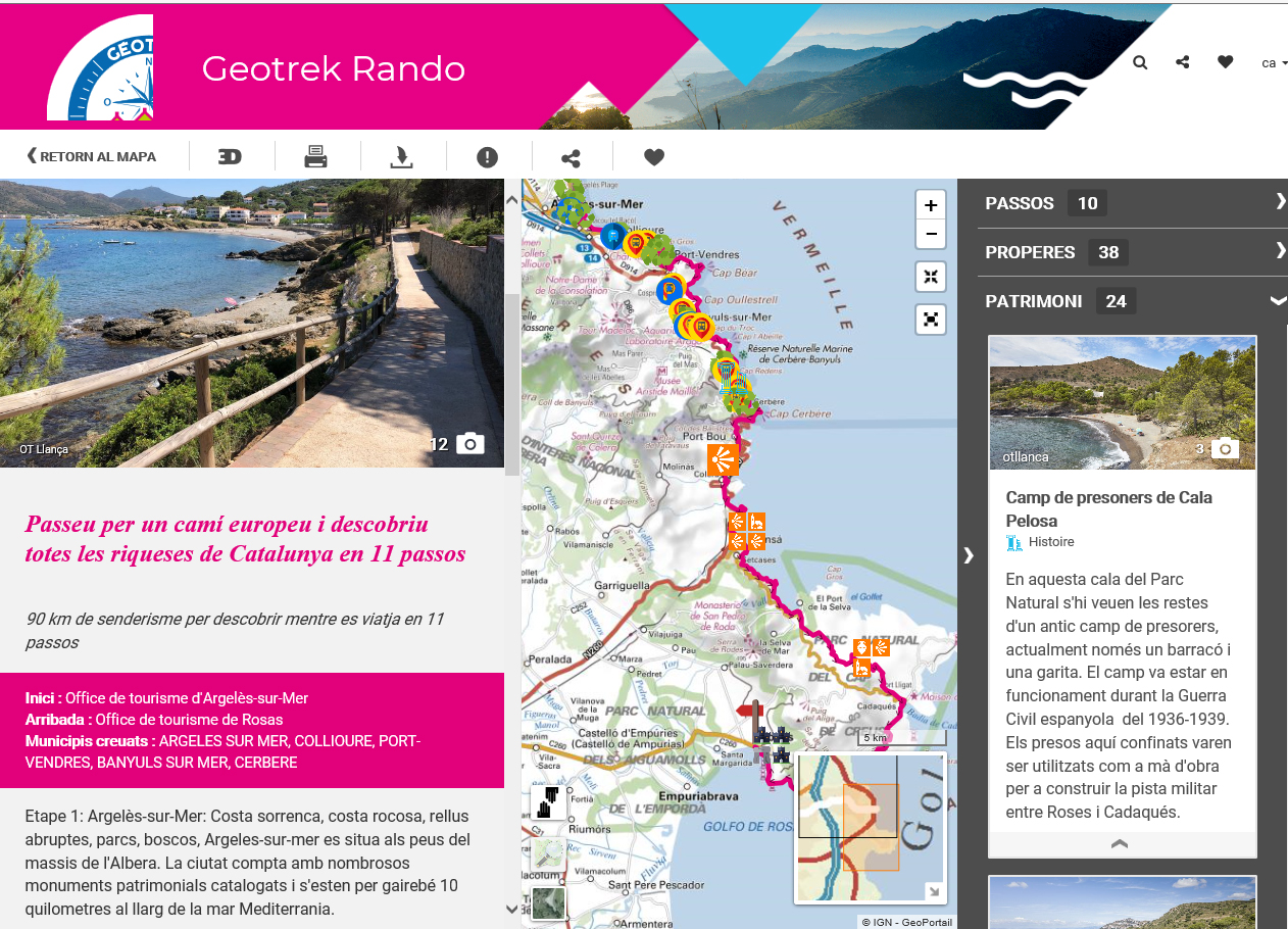 Una ruta entre Roses i Argelès-sur-Mer en 10 trams per conèixer el patrimoni costaner
