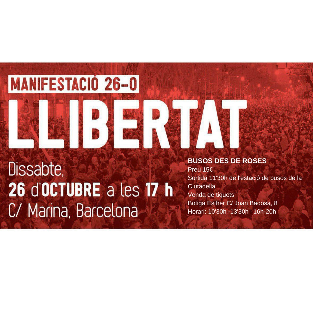 L'ANC Roses organitza de nou busos per anar aquest dissabte a Barcelona