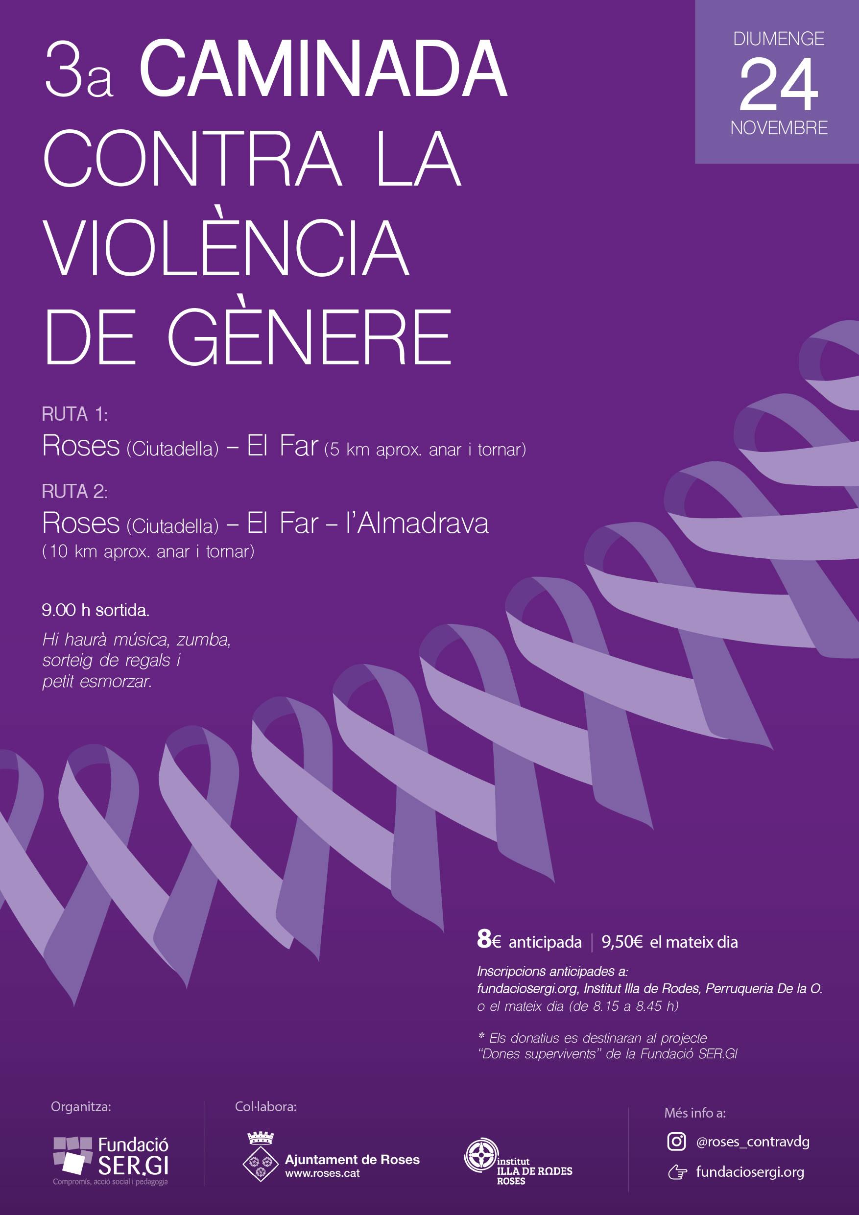 Roses acollirà la 3a caminada contra la violència de Gènere