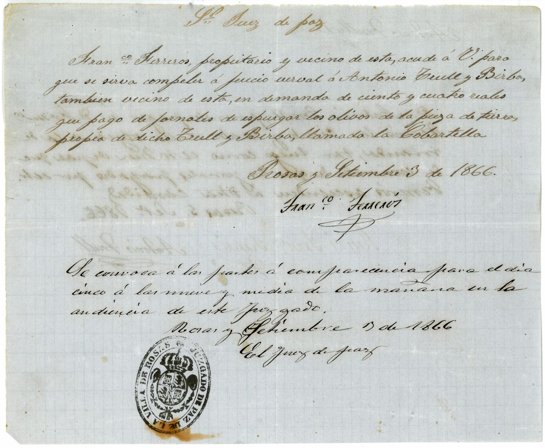 L'Arxiu Municipal de Roses destaca un judici oral de 1866 en el Document del Mes