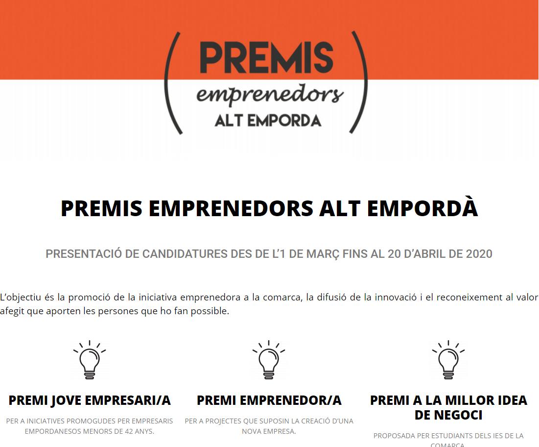 Convocada la dotzena edició dels Premis Emprenedors de l'Alt Empordà