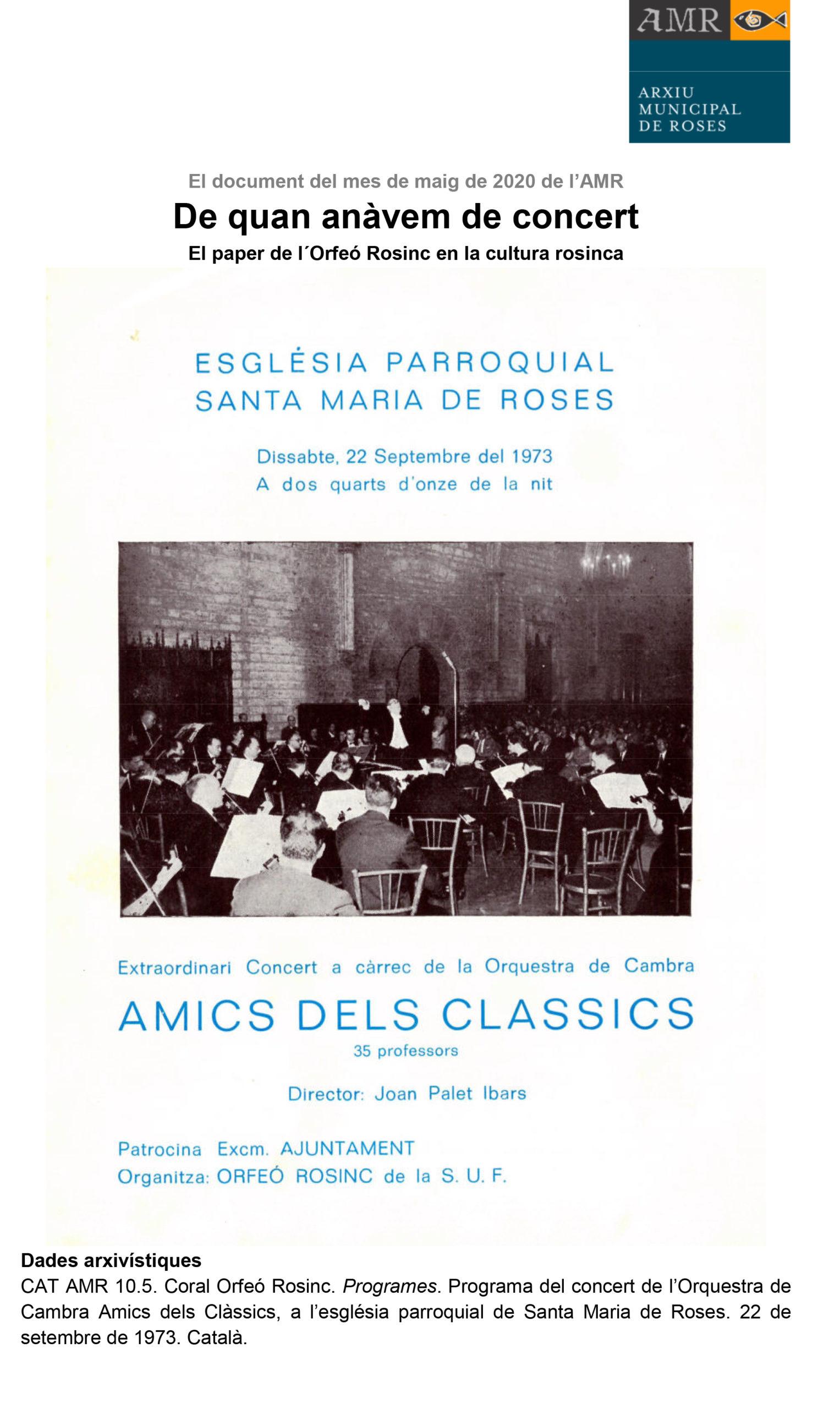 El programa d'un concert de l'Orfeó Rosinc de 1973, Document del Mes de l'AMR