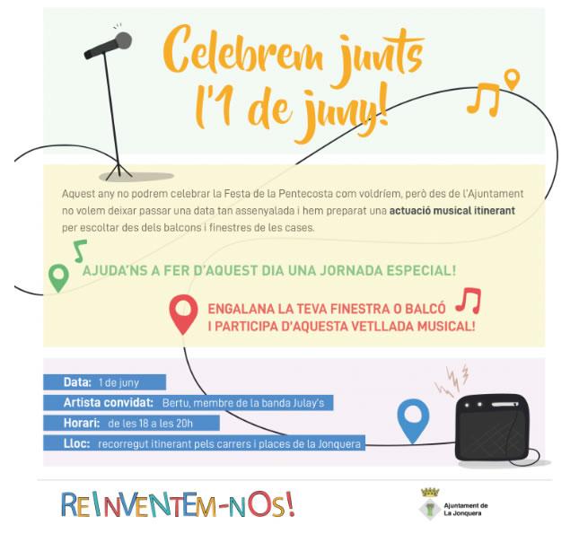 La Jonquera festejarà l'1 de juny amb una actuació musical itinerant que es podrà escoltar des dels balcons