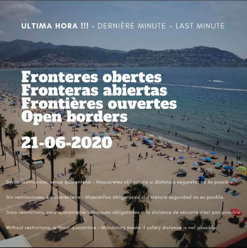 Fronteres obertes a partir del 21 de juny
