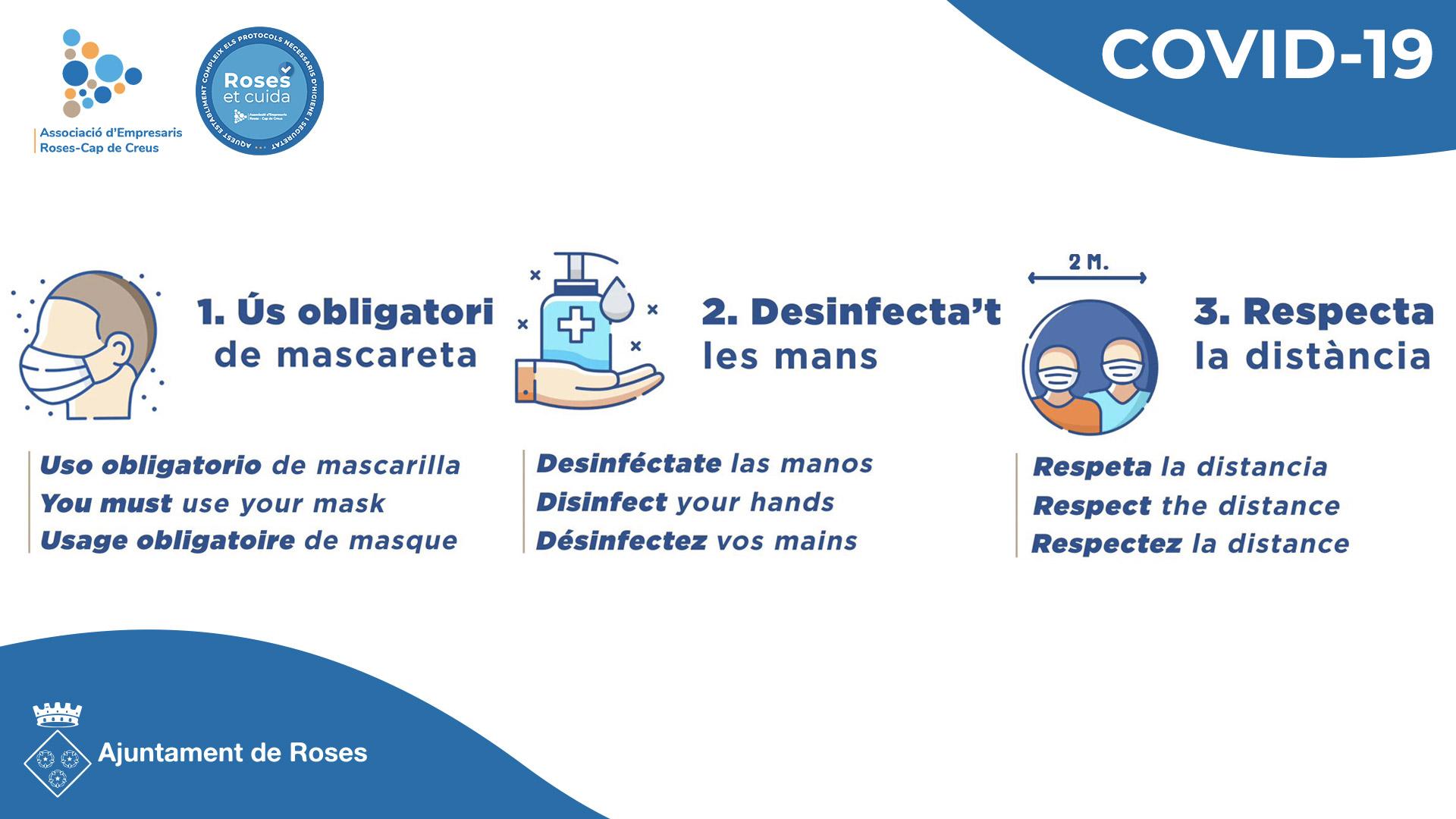 Roses consciencia a ciutadans i visitants sobre l'ús de la mascareta i la necessitat de prevenció