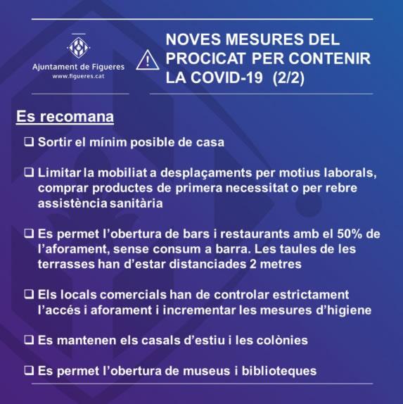 Figueres aplica les mesures per contenir la COVID-19 aprovades pel PROCICAT