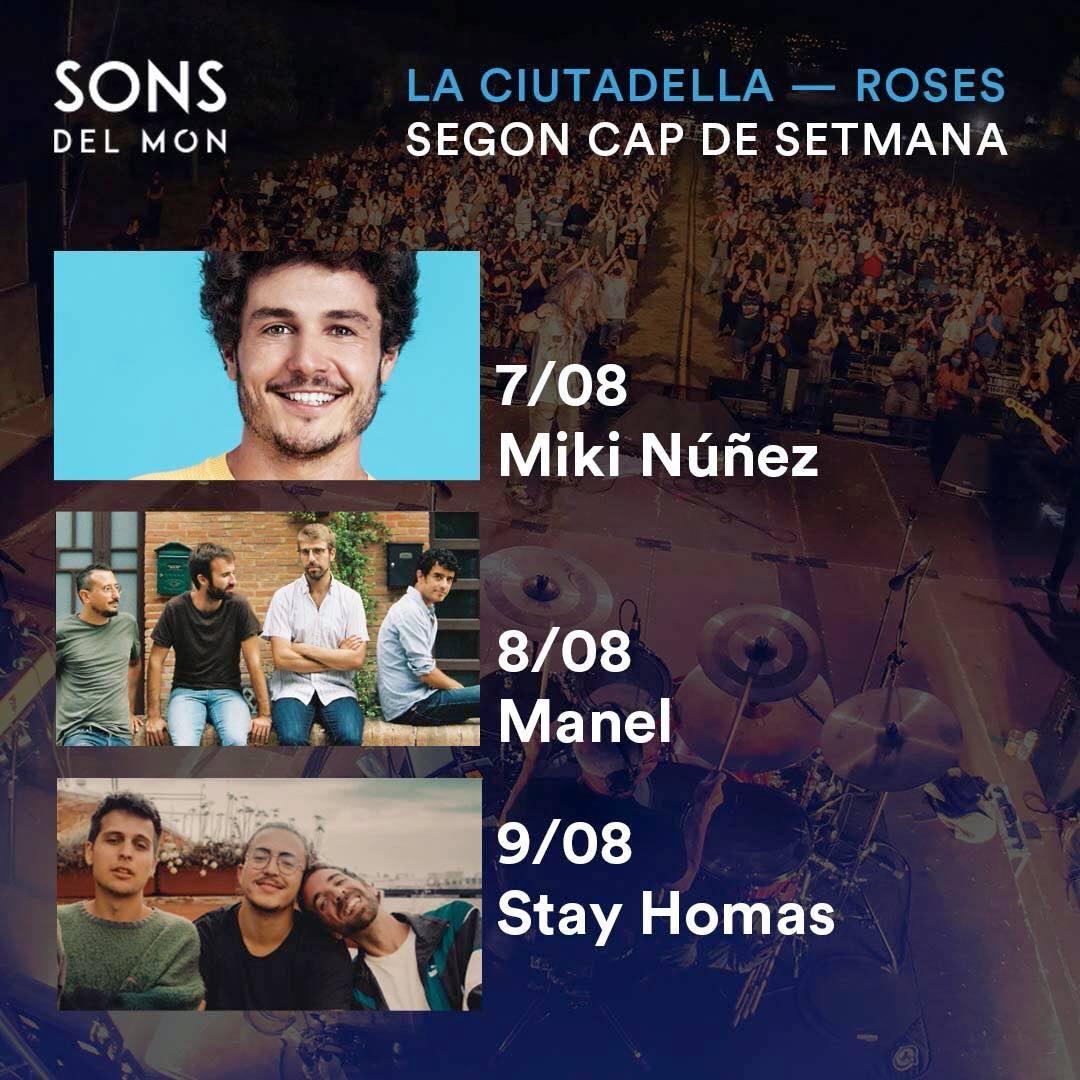Miki Núñez, Manel i Stay Homas, en el segon cap de setmana de Sons del Món