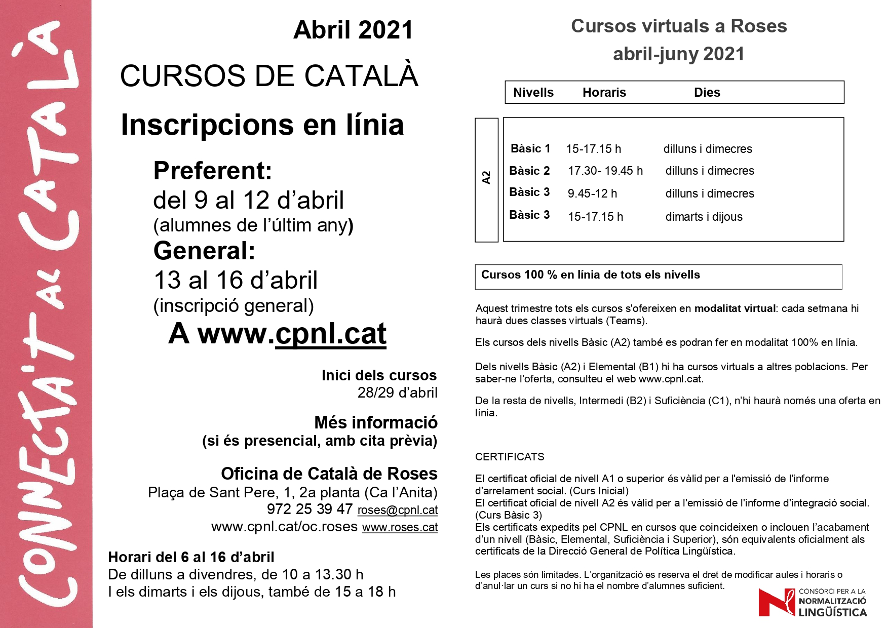 S'obren les inscripcions per als cursos de català d'abril-juny