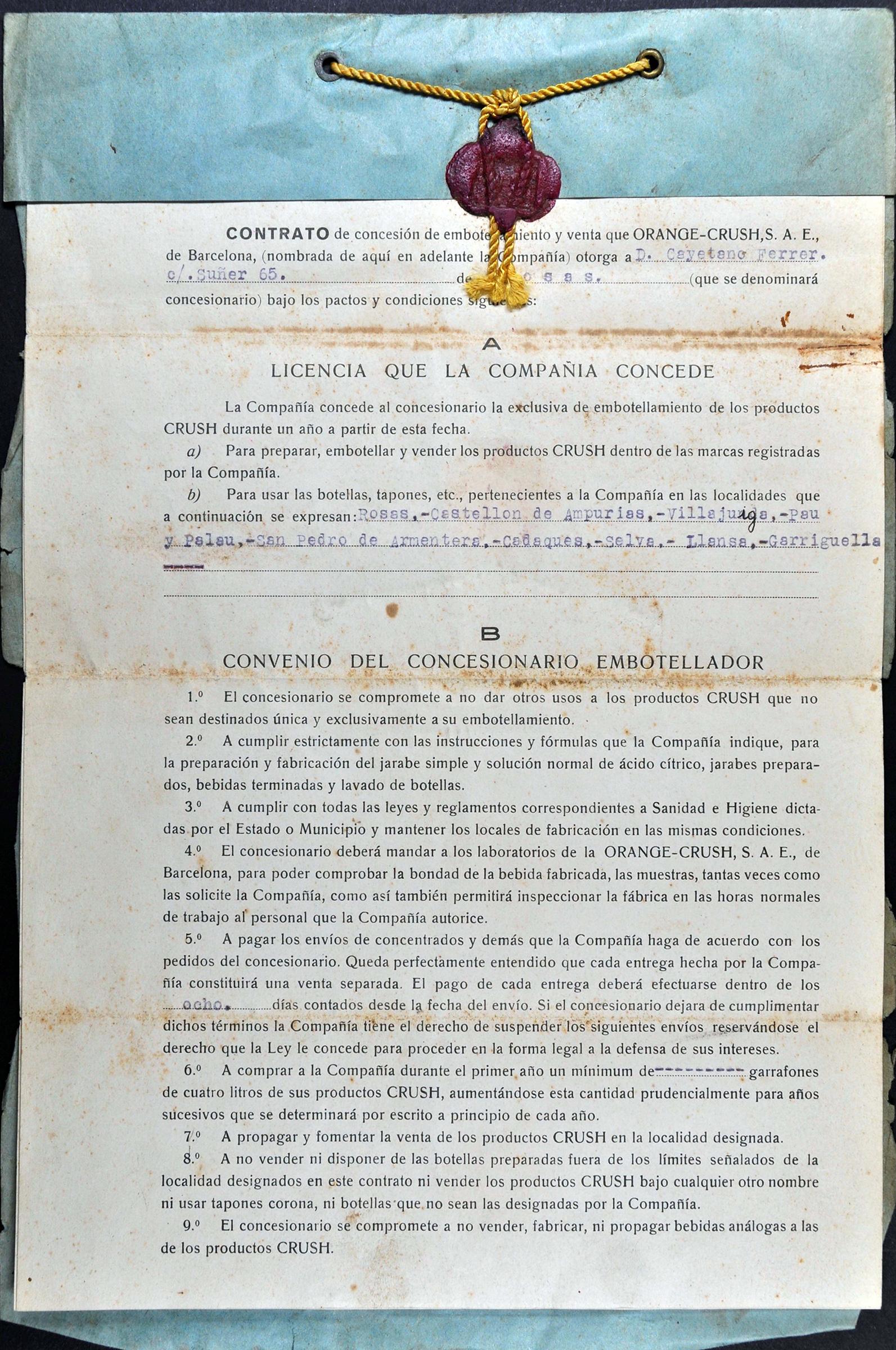 La concessió de la beguda Orange Crush a la família Ferrer de Roses, al Document del Mes de l'AMR